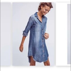 Anthropologie Fringed Chambray Buttondown Tunic